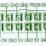 Tensiones en un conector ATX. El PC-ok no es necesario conectarlo es un terminal de control. Nos quedamos solo con tensiones positivas y negativas.