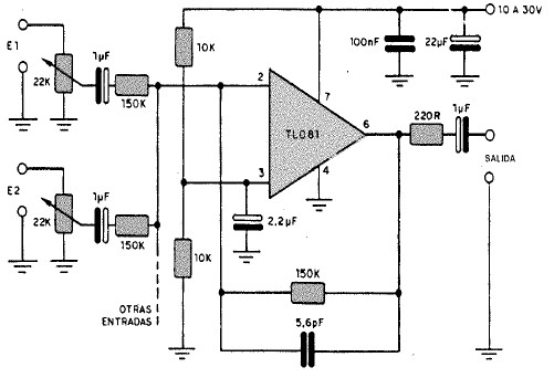 Circuito Operacional : Mezclador con entradas fet tl pesadillo