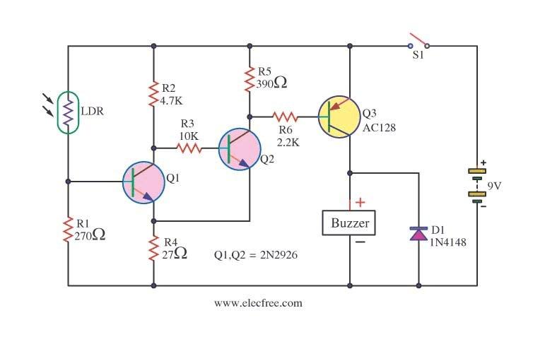 Circuito Ldr : Circuito de alarma activado por luz con bc y ac