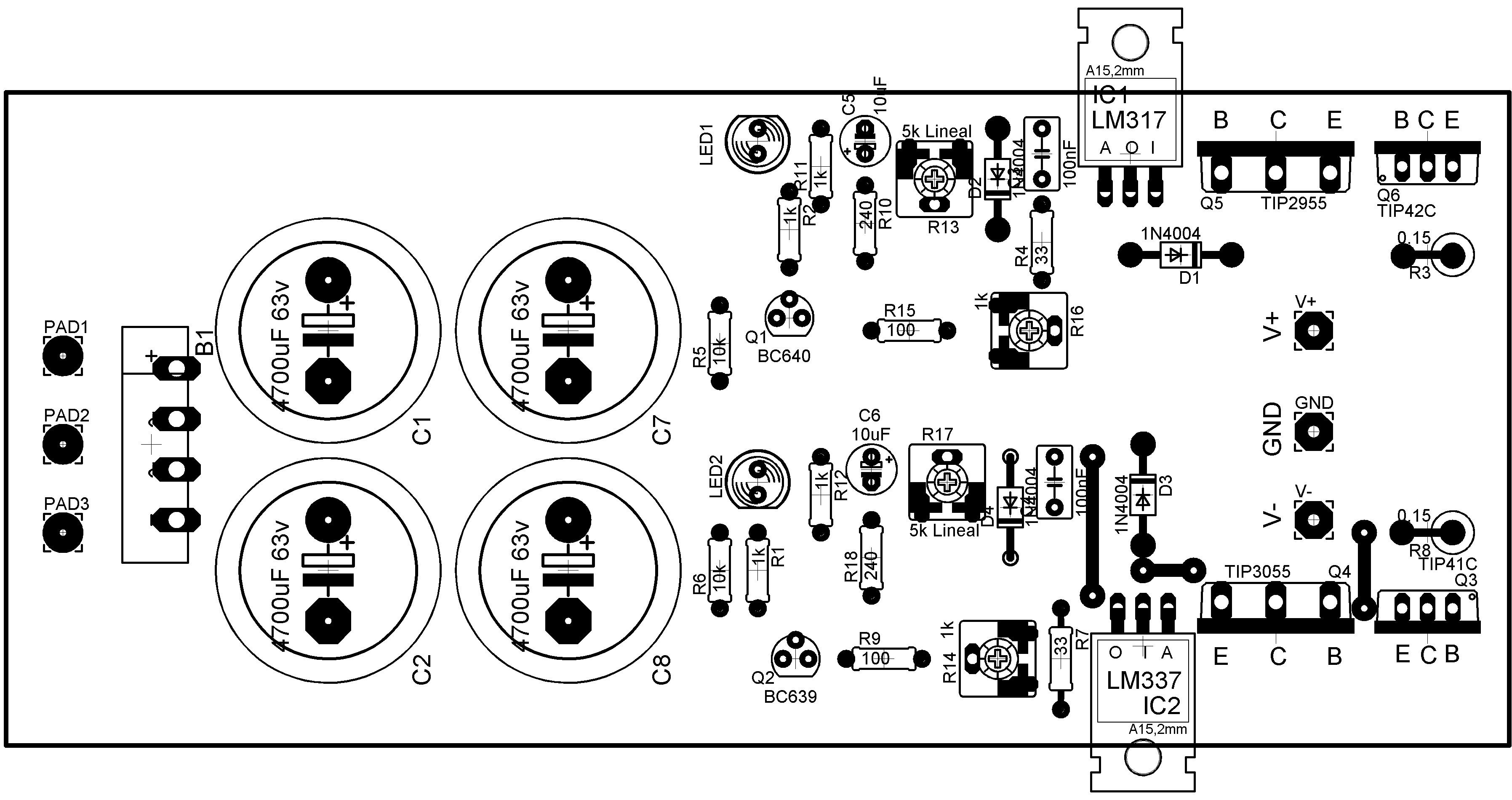fuente simetrica regulada variable con lm317 y lm337