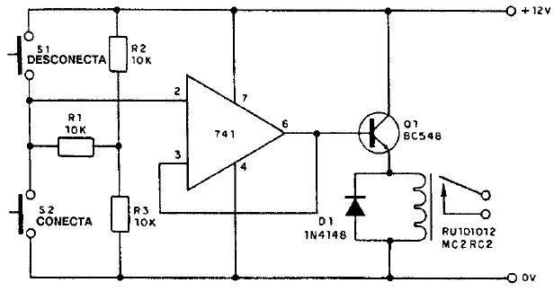 Circuito Operacional : Interruptor con operacional y fuente simple